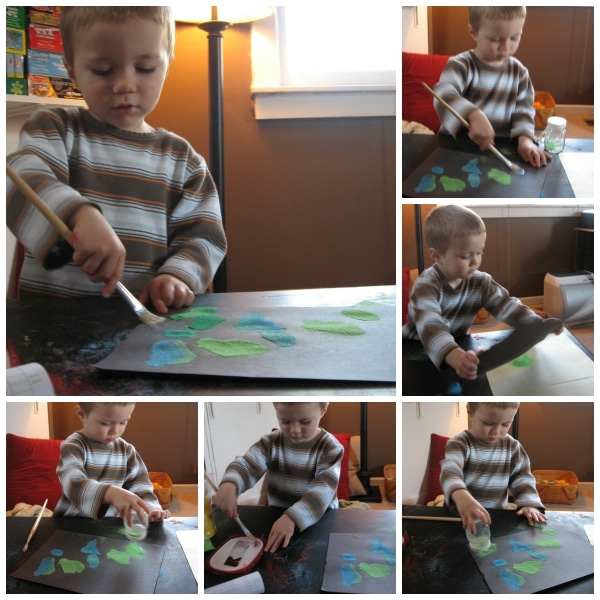 Process Art Sand Pictures--a great way to keep your toddler or preschooler busy, happy, and learning! from Walking by the Way blog