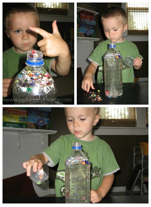 I Spy Alphabet Bottle for Preschool from Walking by the Way