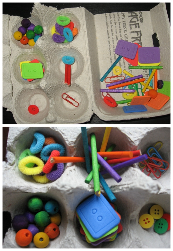 Preschool Busy Bag Idea: Egg Carton Sort