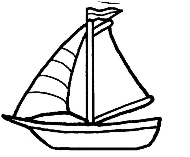 Free simple drawing of boat coloring pages