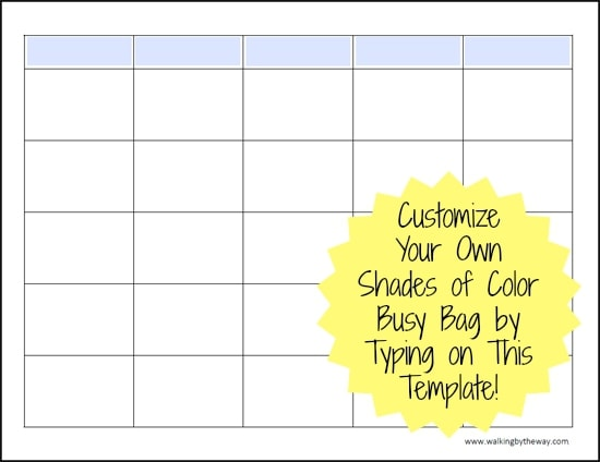 Customize Your Own Shades of Color Busy Bag by Typing Directly on the FREE Template!