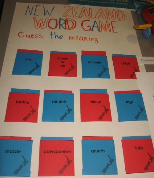 New Zealand Word Game for Geography Fair Project