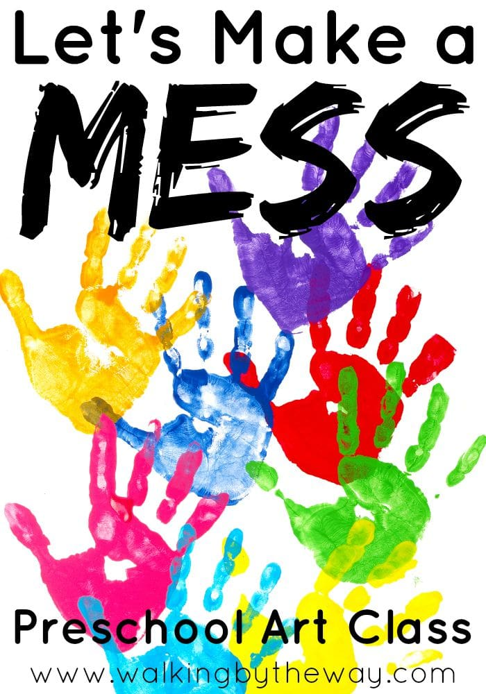 Let's Make a Mess Preschool Art Class for Homeschool Co-ops from Walking by the Way