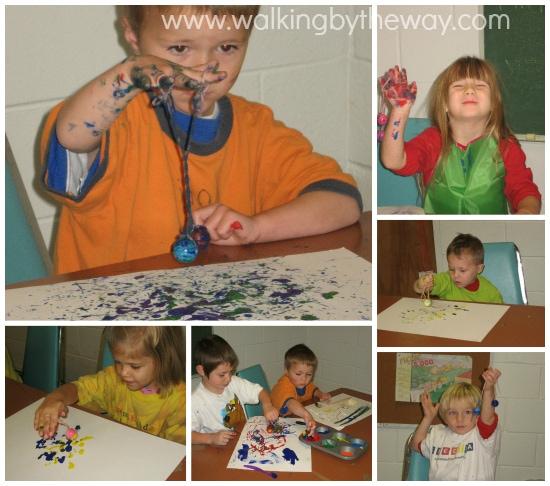 Dancing Beads Process Art for Preschool Homeschool Co-op Class