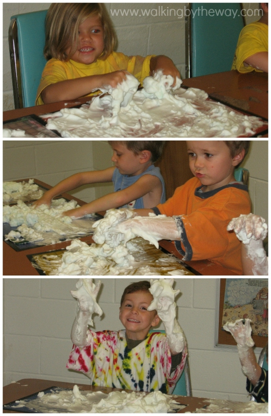 Shaving Cream Art Fun for Preschool Homeschool Co-op Class