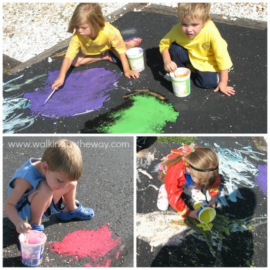 Homemade Sidewalk Paint Preschool Process Art for Homeschool Co-op Class