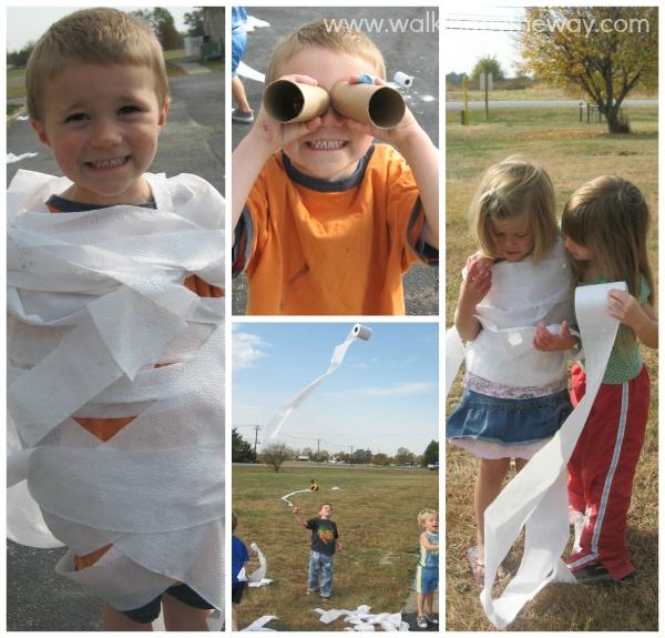 "Toilet Paper Play Day for ""Let's Make a Mess"" Preschool Homeschool Co-op Art Class"
