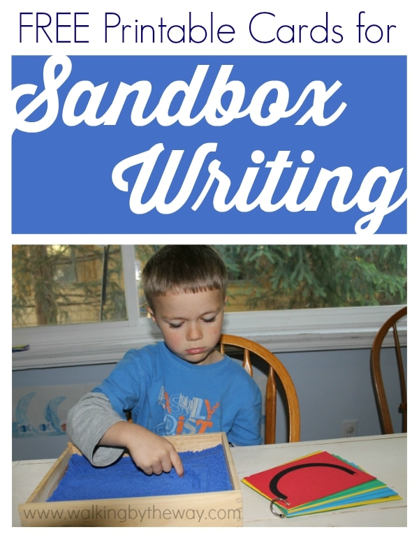 Free Printable Cards for Sandbox Writing from Walking by the Way. A great activity for preschoolers working on handwriting readiness.