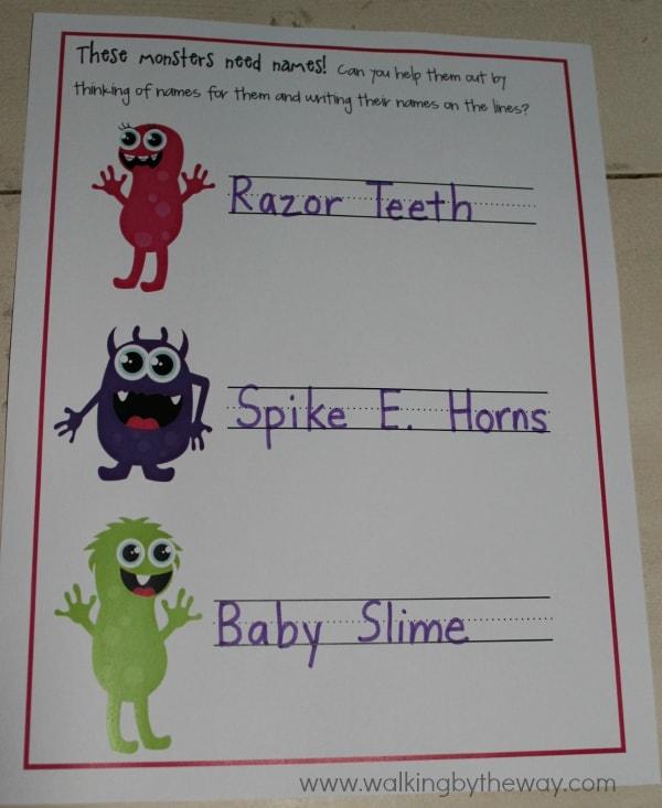 Monster Mash Kindergarten Kit -- Monster Names
