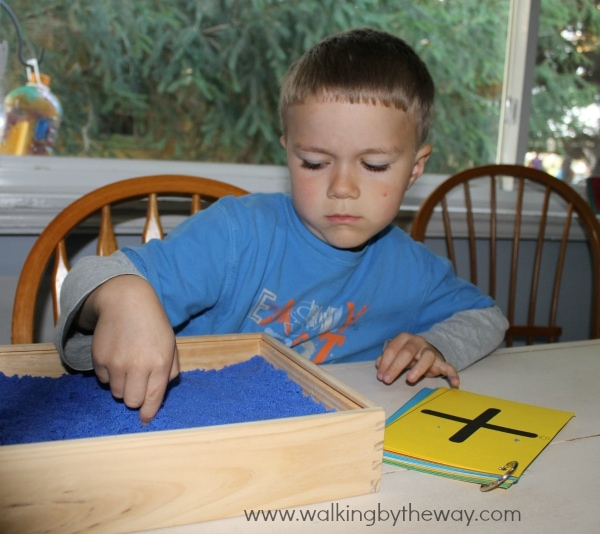 Sandbox Writing Activity with Free Printable Cards from Walking by the Way