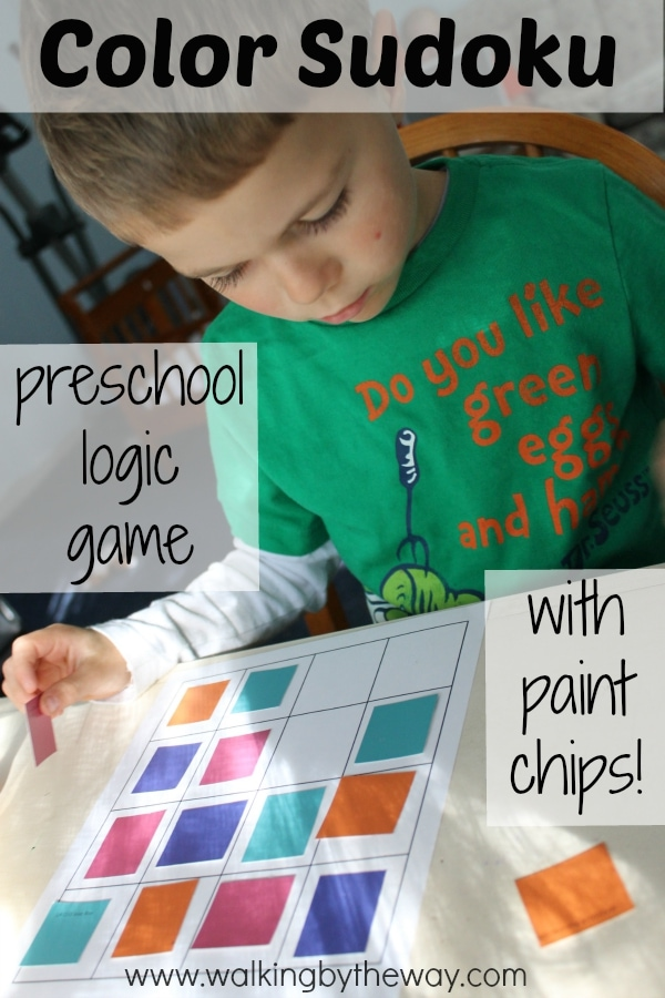 Color Sudoku Logic Game (Preschool Activity Bag Idea) from Walking by the Way