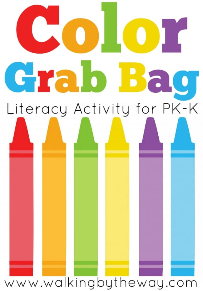 Color Grab Bag Literacy Activity for Preschool and Kindergarten from Walking by the Way. Teaches color words. This would also make a great, easy busy bag!