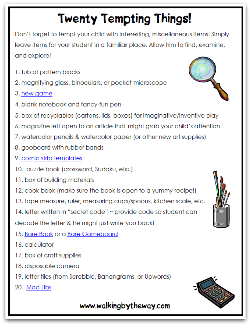 Twenty Tempting Things! Printable List of Ideas to Stir-up Curiosity in Your Homeschool from Walking by the Way