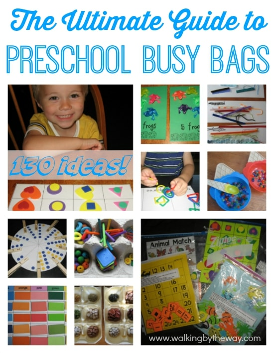Preschool Busy Bags and Activity Bags Idea List from Walking by the Way