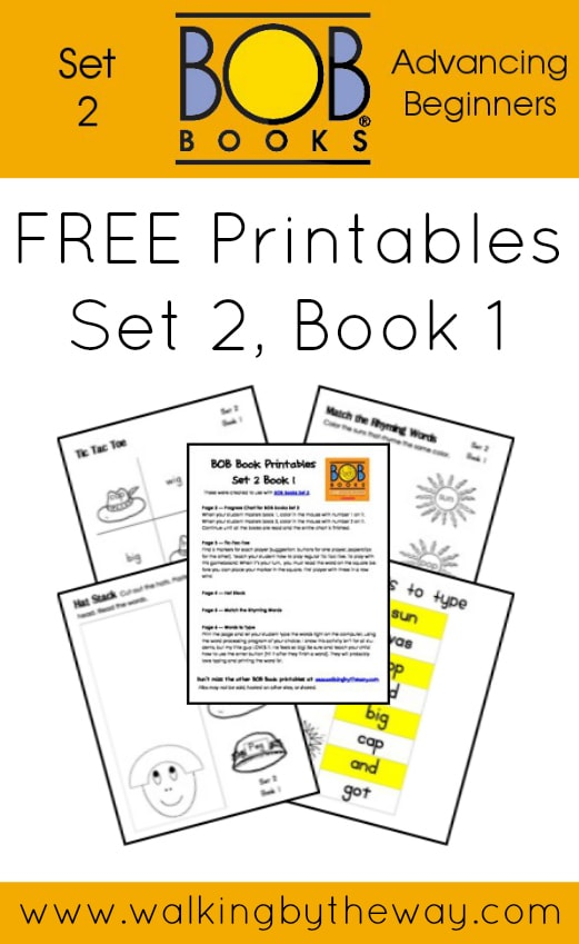 FREE Printables for BOB Books Set 2: Advancing Beginners  (Book 1) from Walking by the Way