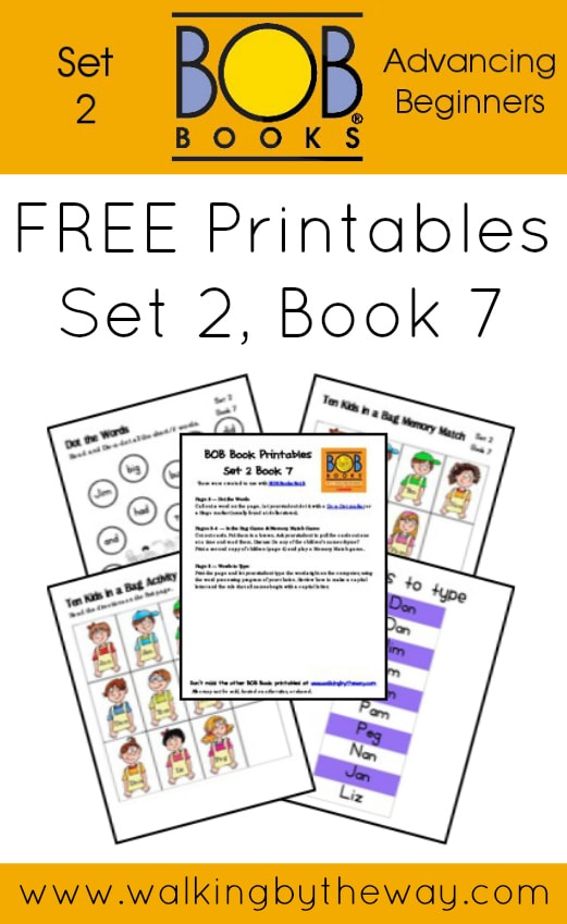 FREE Printables for BOB Books Set 2: Advancing Beginners  (Book 7) from Walking by the Way