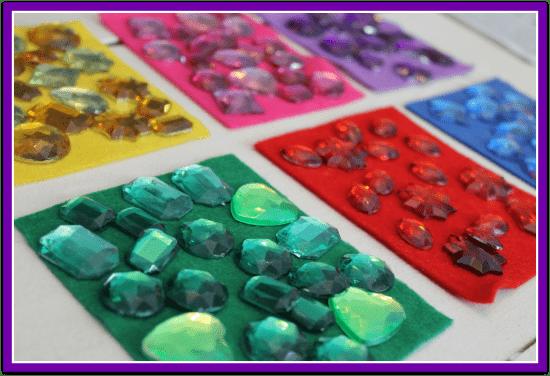 Sparkly Jewel Sorting Preschool Activity Bag