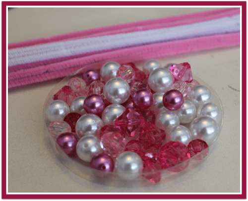Supplies for Princess Beads Busy Bag