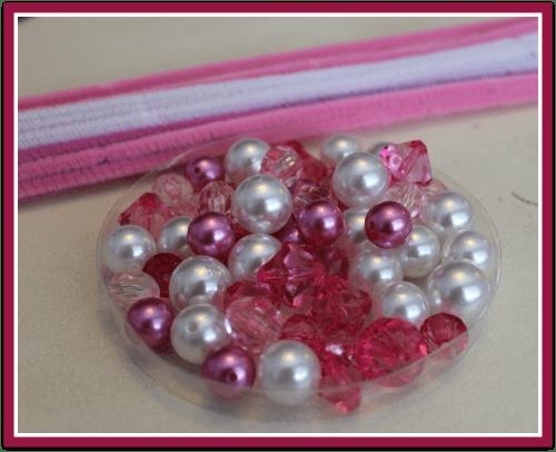 Supplies for Princess Beads Busy Bag