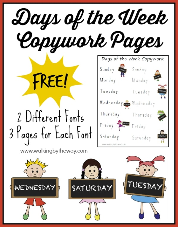 Days of the Week FREE Copywork Pages from Walking by the Way