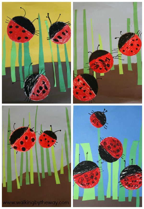 Ladybugs Mixed Media Art Collages