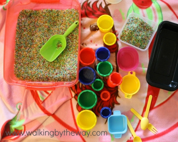 Tip: Keep Your Sensory Play on a Blanket for Easy Clean Up