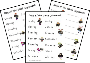 Free Copywork Pages for Days of the Week