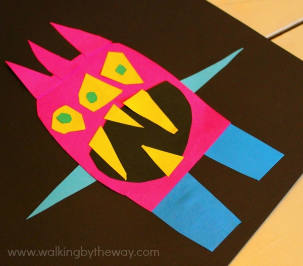 Cut Paper Monster Art Project inspired by Ed Emberley's Monster Books (Walking by the Way)