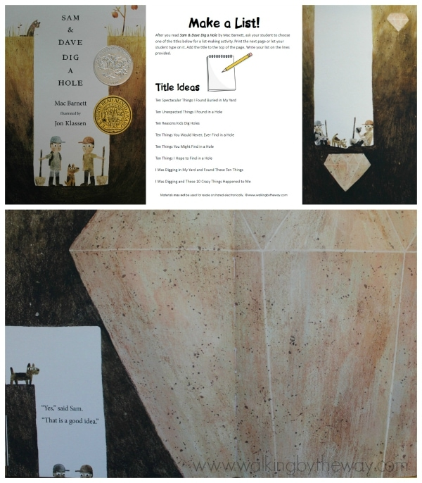 Writing Activity for Sam & Dave Dig a Hole (Candlewick Press)