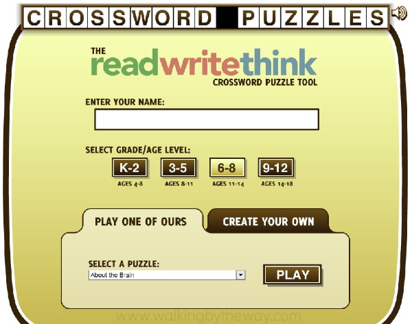 Inspire Your Student to Write with ReadWriteThink's Crossword Puzzle Maker