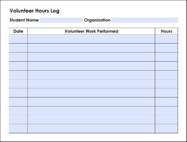 FREE Volunteer Log for High School Homeschool