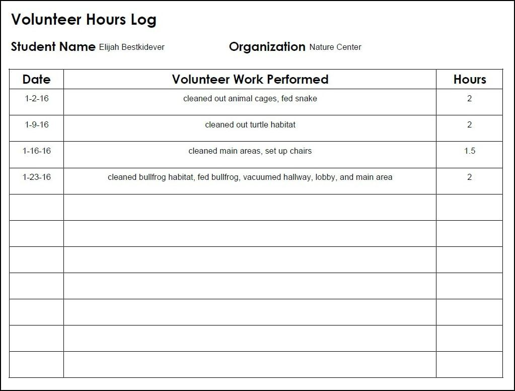 volunteer hour sheet Homeschool High School Volunteer Log - Walking by the Way