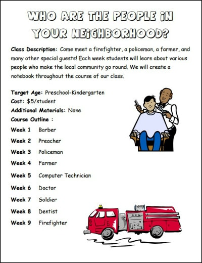 Who Are the People in Your Neighborhood? Preschool Homeschool Co-op Class from Walking by the Way