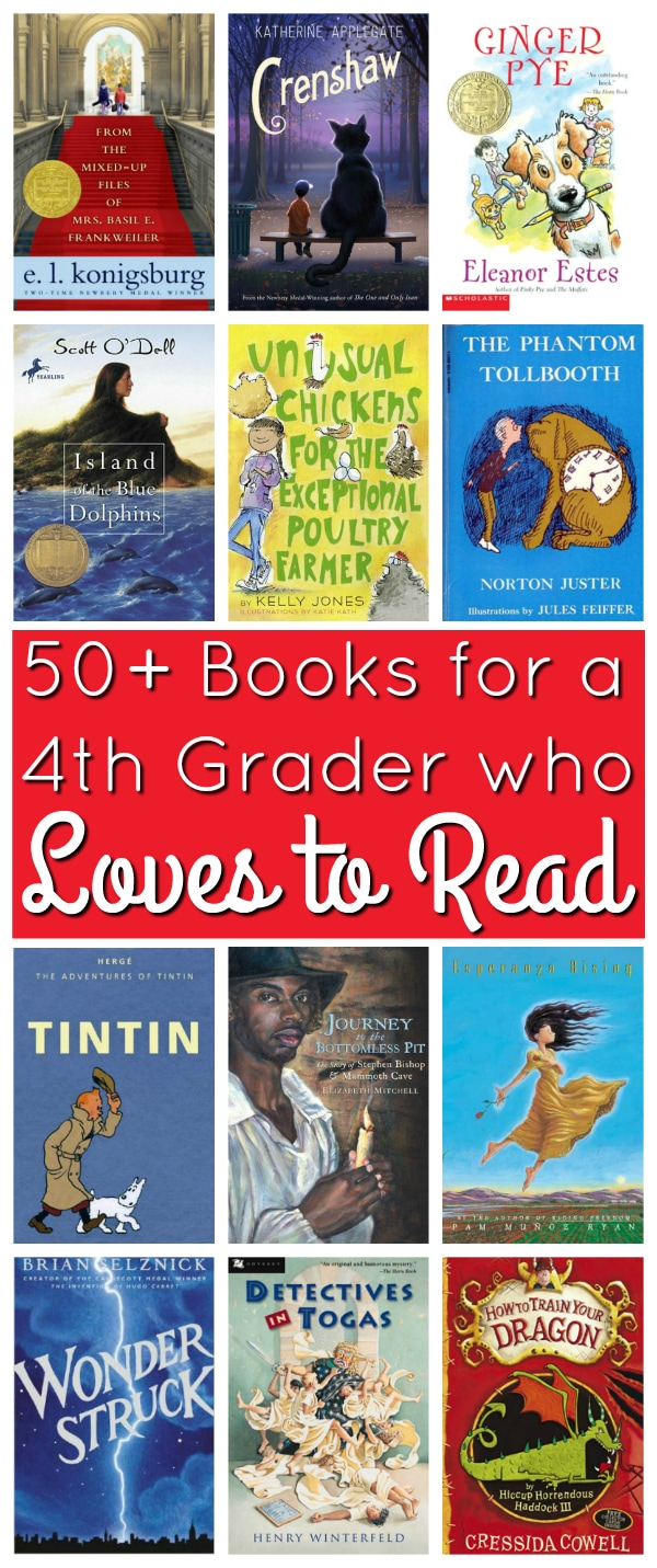 50+ Books for a 4th Grader Who Loves to Read; book list for a voracious reader from Walking by the Way