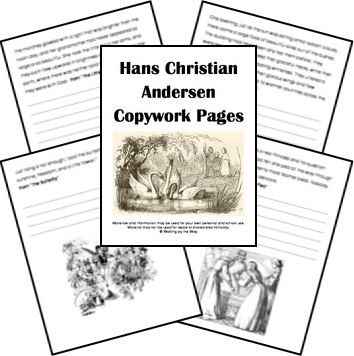 Free Hans Christian Andersen Copywork Pages from Walking by the Way