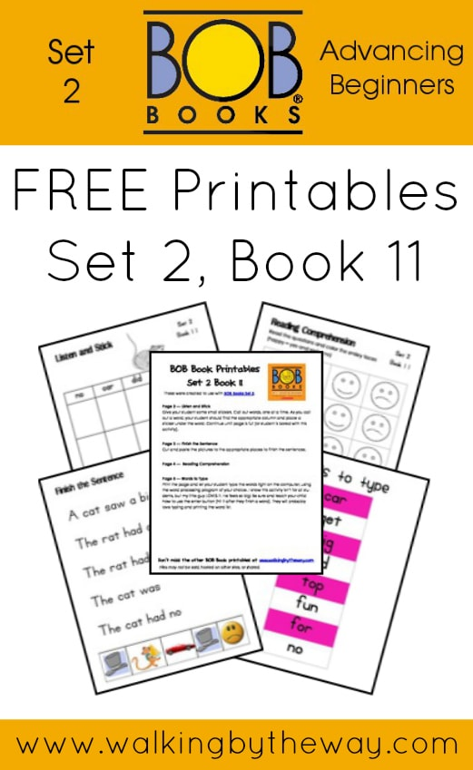 FREE Printables for BOB Books Set 2: Advancing Beginners  (Book 11) from Walking by the Way