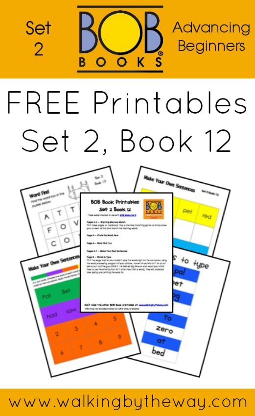 FREE Printables for BOB Books Set 2: Advancing Beginners  (Book 12) from Walking by the Way