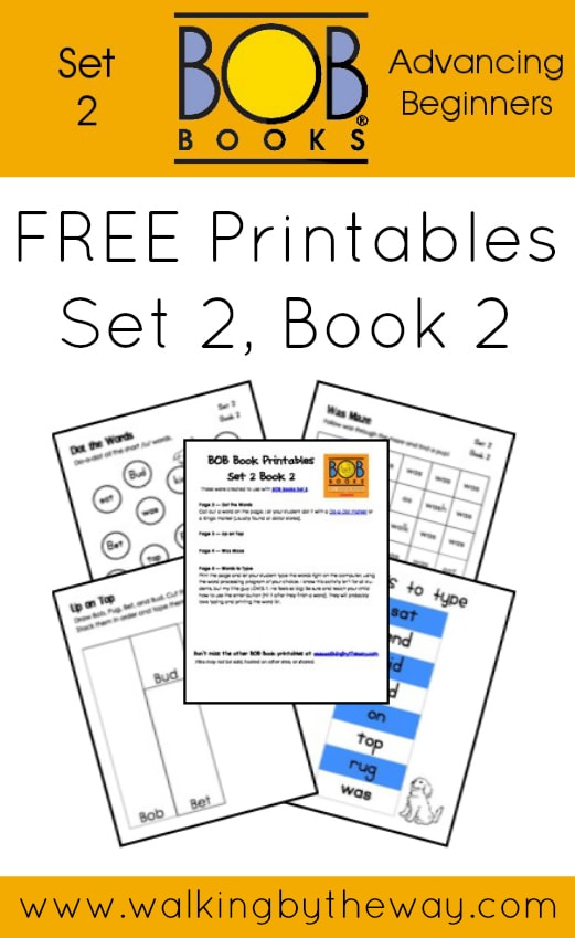 FREE Printables for BOB Books Set 2: Advancing Beginners  (Book 2) from Walking by the Way